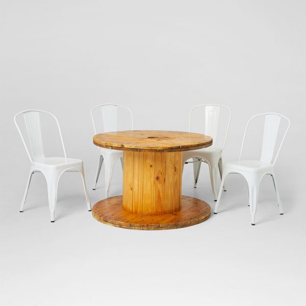 Cable-Drums-and-Tolix-Chairs-White-for-hire