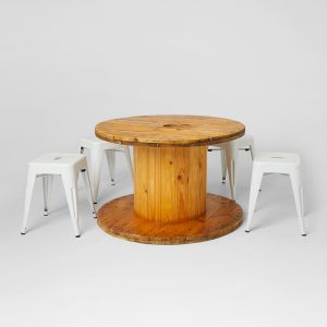Cable-Drums-and-Tolix-Stools-White-for-hire