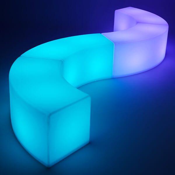 LED Arc Ottoman blue and mauve