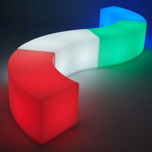 LED Arc Ottoman red white green blue