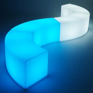 LED Arc ottoman blue and white