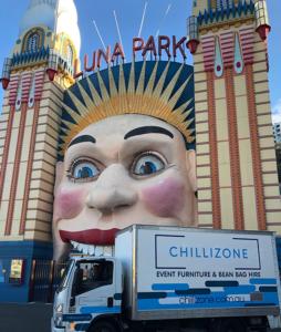 chillizone delivery van in front of luna park