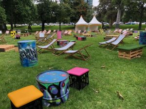 chillizone crate seats with other furniture in Treasury Gardens