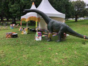 giant dinosaur with chillizone furniture in Treasury Gardens