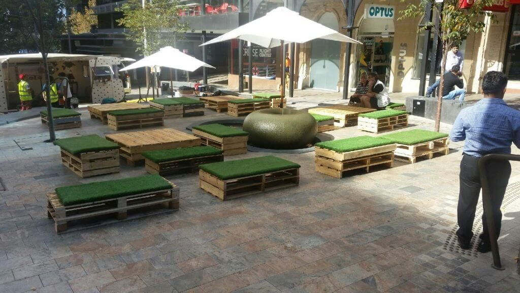 North Sydney Council Event with pallet furniture and umbrellas